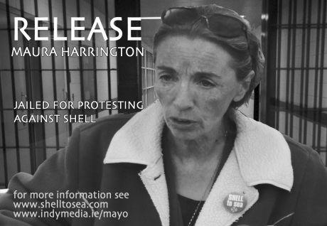 A protest poster (above) calling for the release of environment campaigner Maura Harrington  who was convicted on 11th March 2009.