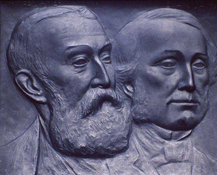 Memorial. Close-up. Left James James (the son) who composed the music. Right Evan James. Photo Pontypridd Museum.