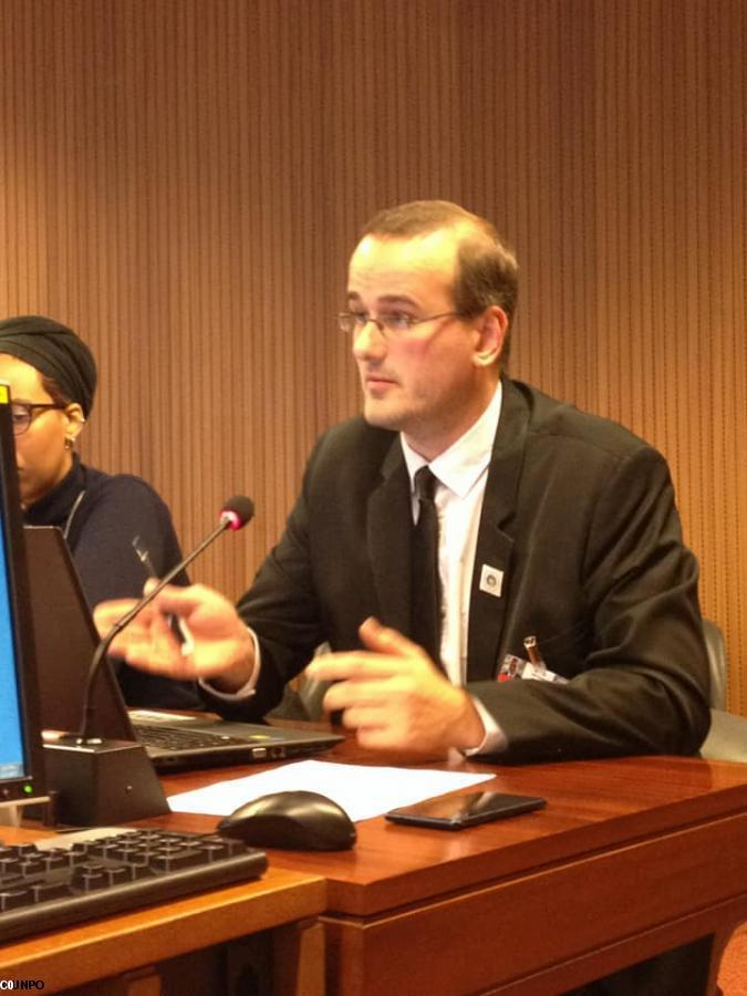 Thomas Radoubé speaks at the UN, on behalf of KAD, for Brittany.
