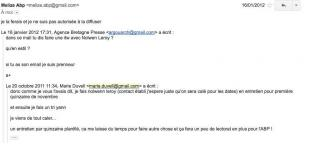 Un mail de Marie Duvel du 20 octobre 2011 adressé à Philippe Argouarch avec réponse de Melize Danet le 16 janvier 2012 qui établit le lien entre les deux pseudos. 42 42997_1.jpg