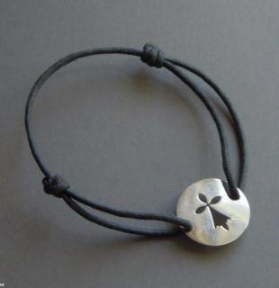 A bracelet in solid silver with a breton ermine