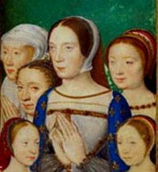 Portrait de famille retrouvé dans le livre d'heures de Catherine de Médicis. Au centre Claude, fille ainée d'Anne et de Louis XII, femme de François 1er. A sa droite Renée, sa soeur cadette. Tout à gauche avec les cheveux blancs probablement Louise de Savoie, mère de François Ier. A sa droite probablement Marguerite de Navarre, soeur ainée de François 1er. Les deux filles de Claude devant seraient Madeleine qui deviendra reine d'Écosse et Marguerite qui deviendra duchesse de Savoie. 43 43846_2.jpg