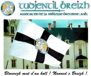 Le drapeau de  TUDJENTIL BREIZH flottant sur le château des Ducs de Bretagne à Nantes