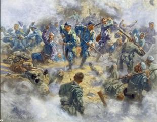 Peinture de Henri Georges Jacques Chartier (1859 - 1924) montrant la reprise du Fort de Douaumont par des troupes coloniales dont des Somaliens qui ne parlaient même pas Français et dont on en fit des héros malgré eux. Peinture visible au musée de l'armée.