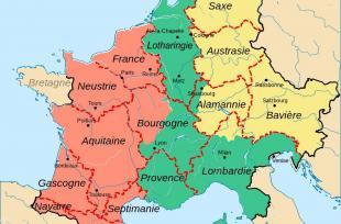 L'Europe continentale en 843 juste après le traité de Verdun.