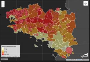 Tonnes d'ammoniaque par Km2 en Bretagne (carte de Splann !)